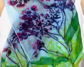 silk scarf Wild Purple Aster long chiffon painted dyed unique mothers day blue floral weeds