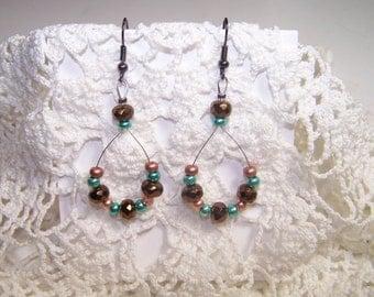 Dangle Copper and Turquoise Loop Earrings Pierced Bead Teal Gunmetal Long Large