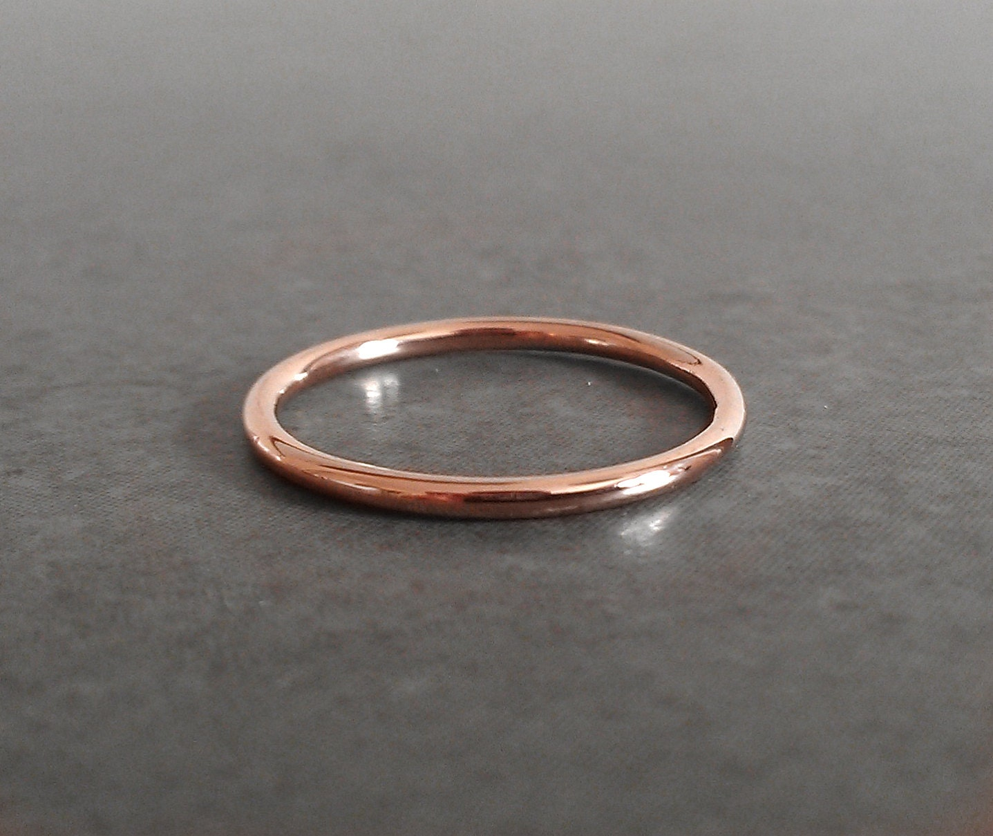 Simple Rose Gold Thin Wedding Ring 14k Rose Gold