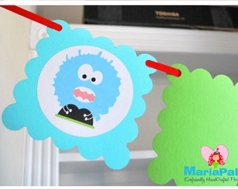 Monster 12 Month Photo Banner Picture Banner, Monster Birthday, Monster Bash, Monster Theme, Monster Birthday A1031