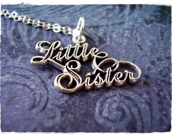 Silver Little Sister Necklace - Sterling Silver Little Sister Charm on a Delicate Sterling Silver Cable Chain or Charm Only