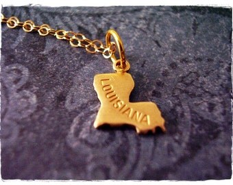 Tiny Gold Louisiana State Necklace - Raw Brass Louisiana Charm on a Delicate 14kt Gold Filled Cable Chain or Charm Only