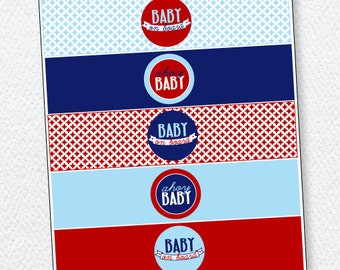 Red & Blue Nautical Baby Shower PRINTABLE Drink Labels (INSTANT DOWNLOAD) from Love The Day