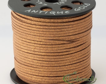 Faux suede cord 3mm wide - antique gold - 3 meters