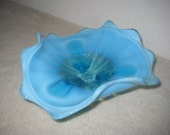 Northwood Glass Co. Blue, Three Footed Bowl, Vintage, Collectible Candy Dish