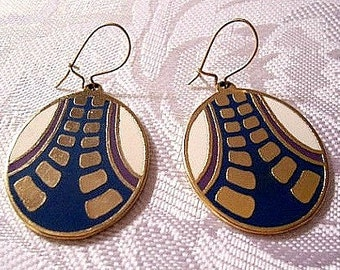 Blue White Purple Path Discs Pierced Wire Earrings Gold Tone Vintage Lotus Modern Square Blocks Wide Road Accent Striping
