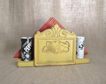 80's Upcycled Napkin / Salt & Pepper Holder / French Country Yellow Wood Napkin Holder