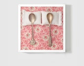 SALE: Whimsical Photo 8x8 Fine Art Photography / Spooning Print / Shabby Chic Gift / Wedding Gift for Newlyweds / Floral Pink Gold
