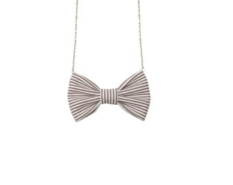 Grey Purple Stripes - Bow Tie Necklace Gray White Striped Bowtie for Girls and Women