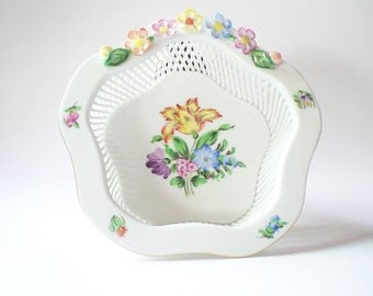 Woven Porcelain Basket Herend Reticulated Porcelain Decorative Bowl