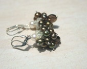 Olive Branch - Handmade and Wire-wrapped Prehnite, Pearl, and Smokey Quartz Sterling Silver Cluster Earring