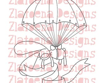 Parachute digital stamp Adventure digital stamp Fly away digital stamp Sky stamp Love you digital stamp Thank you digital stamp Bunny stamp