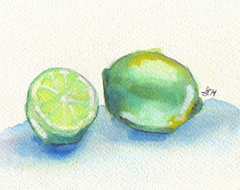 Green Limes Watercolor Painting 5x7 Print - Lime Fruit Still Life 5x7 Print