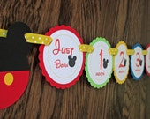 Mickey Mouse CLUBHOUSE Inspired. Just Born/0-12 mos Picture Hanging Banner. First Birthday Banner. Mickey Clubhouse Photo Banner. Colors