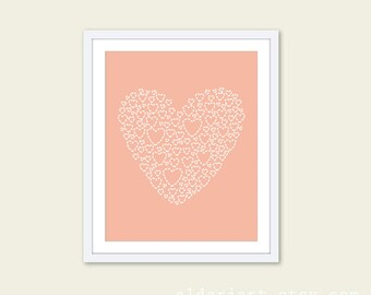 Heart Art Print - Heart Wall Art - Heart Nursery Decor - Peach Heart Print - Nursery Wall Art Print - Peach Pastel - Baby Nursery Decor