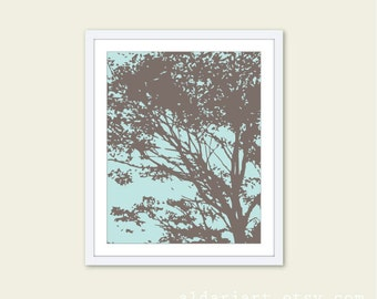 Tree Art Print - Nature Home Decor - Modern Tree Wall Art - Taupe and Blue