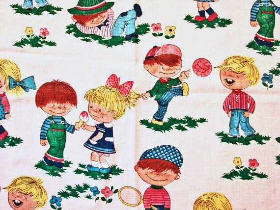 1970s vintage fabric children juvenile by fabrictreasures4u for Vintage childrens fabric prints