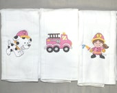 Baby girl firefighter burp cloth firegirl burp cloth fire truck baby girl burp cloth