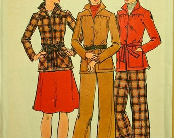 Butterick 3863 - UNCUT - Size 12 Bust 34 - 1970's Pants Skirt & Belted Jacket Pattern - Vintage 3 Piece Suit Pattern -  A Line skirt pattern