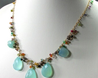 Semi Precious Gems and 14k Gold Filled Necklace