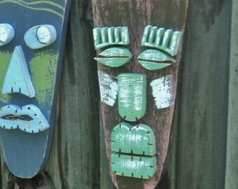 Wood Sculpture,Tiki Mask, Primitive Wall Hanging, Tiki Man, Rustic Beach House, Tiki Bar