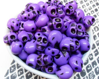 25x Purple Acrylic Skull Beads 12mm by 11mm Bright Shiny Glossy .. Halloween and Day of the Dead