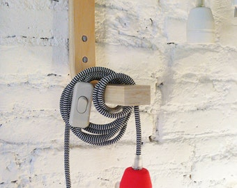 Textile cable lamp with switch and plug - neon red