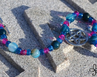 Blue Carnelian and Pink Pentacle Bracelet