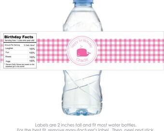 Pink Whale Personalized Water Bottle Labels  - 100% Waterproof