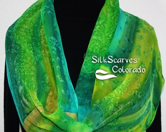 Hand Painted Silk Scarf. Green,Turquoise & Lime Chiffon Scarf SPRING MOON. Size 11x60 in. Silk Scarves Colorado. Hand Dyed Scarf 100% silk.