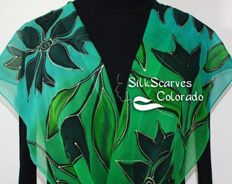 Silk Scarf Green Teal Hand Painted Handmade Chiffon Shawl ROMANTIC FOREST in 3 SIZES, by Silk Scarves Colorado. Birthday Gift Christmas Gift