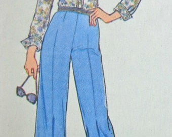 70s High Waist Pants Inverted Pleat Skirt Pattern Bust 34 Shirt Jacket SImplicity 7373 UNCUT