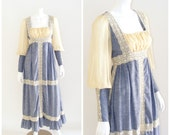 Vintage GUNNE SAX Black Label dress 1960s. Maxi length prairie dress. Chambray blue, cream lace trim, sheer mutton sleeve.