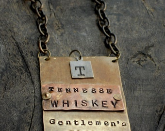 The  Spirits Bottle Tag Collection - The Riveted Series - Tennessee Whiskey Metal Tags Original Design  - Manly Man Cave - Stock the Bar
