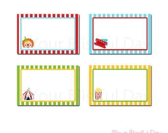 PRINTABLE Carnival Label Tents #518