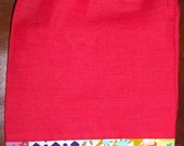 Coral Linen Patchwork Drawstring Tarot Oracle Gemstone Pouch