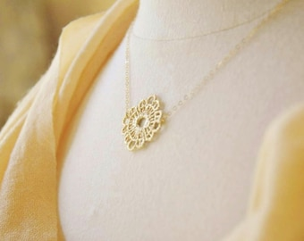 Gold Lace Necklace- Gold Necklace/ Dainty Necklace/ Wedding Jewelry/ Round Pendant/ Round Lace/ Crochet Necklace