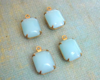 Vintage Opaque Light Blue Stone Brass Setting - Jewelry Supplies