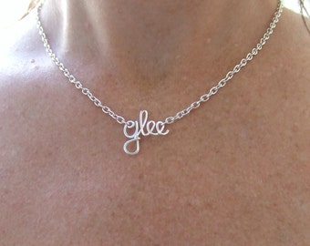 Glee Necklace, Or Any Word or Name, Silver Wire Wrapped Necklace, Choir gifts, Sing Dance Kids jewelry, Wire Word Jewelry, Jewelry Gifts