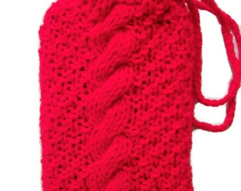 Tarot card bag Fire red Rune pouch, crystals, wicca Knitted