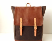 Backpack No.5 -- Dark Brown Waxed Canvas with Leather