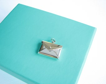 Sterling Silver Envelope Charm Love Letter Locket Pendant Envelope that Opens Qty 1