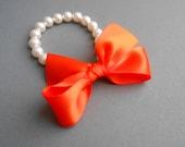 Bridal Pearl Bracelet Puple Weddings White Swarovski Pearls With Tangerine Satin Ribbon