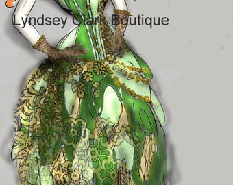 Illustration art print of Absinthe green fairy steampunk dress