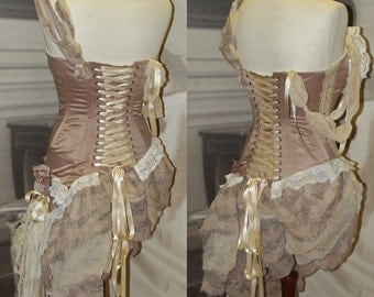 Asymmetrical fairy shabby chic boho dress top with boned bodice. Made to order