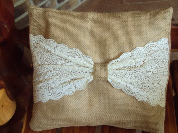 Burlap & Antique White Lace Pillow Rustic Wedding Decorative