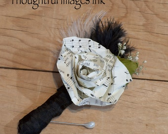 Sheet Music Boutonniere With Feather Accent