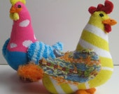 MADAME B'OVARY and LAYLA  are two child safe cluckers made from a couple colorful of socks