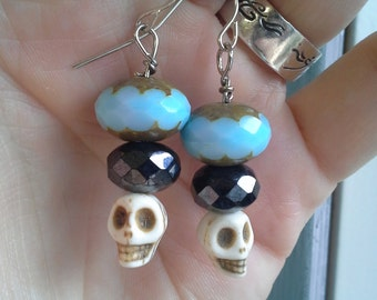 Blue & Black Skull Bead Earrings