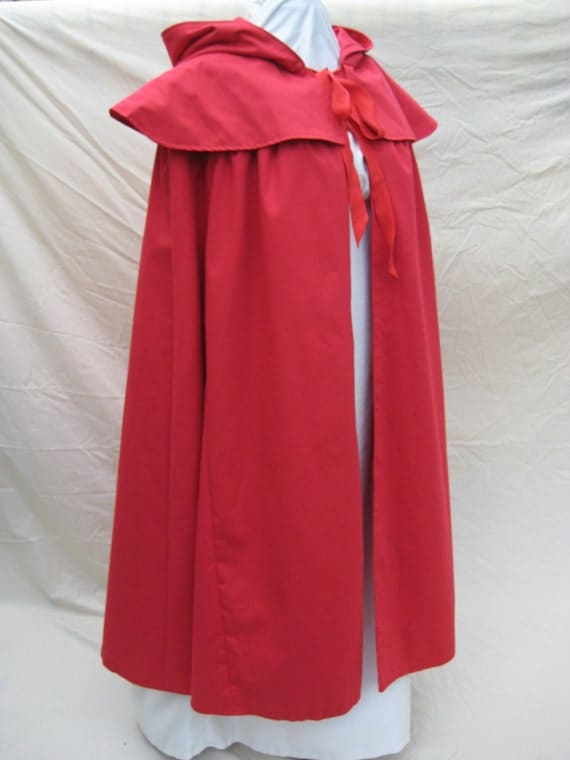 Regency/Colonial Cloak/Cape. CUSTOM MADE. Red Riding Hood. Various Colours